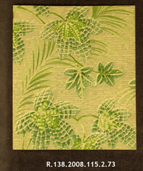 Tropical Leaves on Grasscloth Background